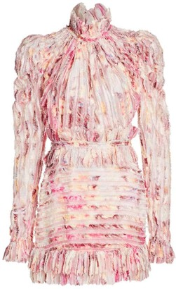 Floral High Collar Mini Sheath Dress
