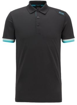 HUGO BOSS Slim Fit Polo Shirt In S.Cafe With Shoulder Logo - Black