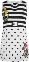 GUESS Striped & Spotted Flower Applique Dress