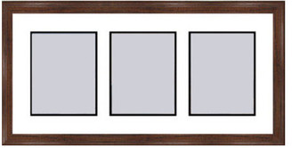 Frames By Mail Walnut Collage Picture Frame with 3 rectangle openings for 6X8 photos