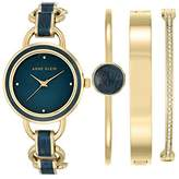 Anne Klein Women's Evelyn Quartz Watch with Mother Of Pearl Dial Analogue Display and Blue Other Strap AK/N2750NVST