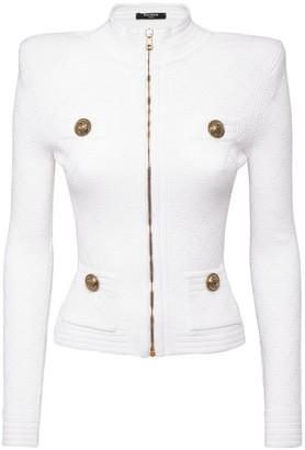 Balmain Fitted Knit Viscose Blend Zip Jacket
