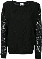 Twin-Set floral lace detail sweatshirt - women - Polyester/Spandex/Elastane/Viscose - M