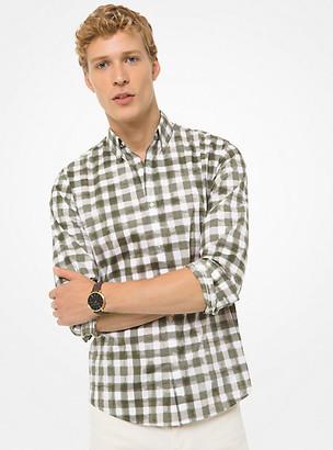 Michael Kors Slim-Fit Painterly Check Stretch-Cotton Shirt
