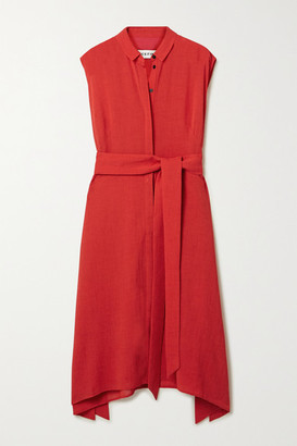 Cefinn Thea Belted Voile Shirt Dress - Crimson
