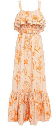 Johanna Ortiz Ruffled Floral-print Cotton-poplin Maxi Dress