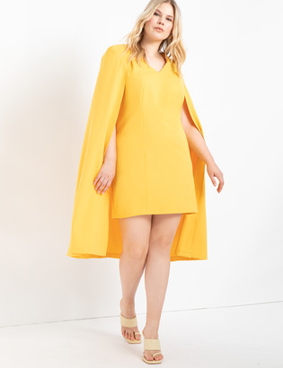 ELOQUII Sharp Shouldered Cape Dress