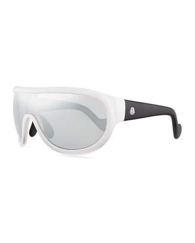 Moncler Mirrored Shield Sunglasses, Black/Silver