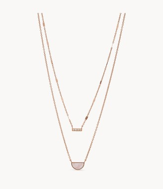 Fossil Duo Half Moon Rose Gold-Tone Stainless Steel Necklace jewelry JF03135791
