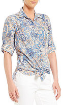 Westbound Petites Roll Sleeve Tie Front Shirt
