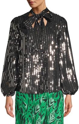 Rixo Moss Stripe Sequin Peasant Blouse