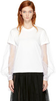 Noir Kei Ninomiya White Long Sleeve Tulle T-shirt