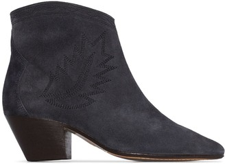 Isabel Marant Dacken 50mm embroidered suede ankle boots
