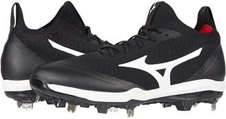 Mizuno Dominant Knit Metal Baseball Cleat (Black/White) Men's Shoes
