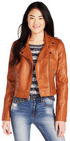 Aeropostale Womens Cape Juby Faux Leather Jacket Orange