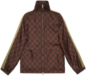 Gucci GG Supreme print silk zip-up jacket
