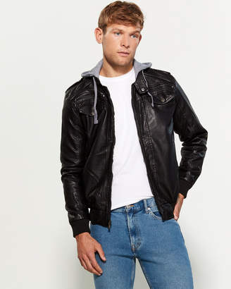 Brave Soul Faux Fur-Lined Hooded Faux Leather Jacket