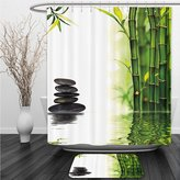Vipsung Shower Curtain And Ground MatSpa Decor Bamboos Reflecting to the Water Near the Hot Black Massage Stones Black Green and WhiteShower Curtain Set with Bath Mats Rugs