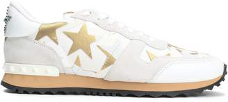 Valentino Garavani Studded Metallic Printed Canvas And Suede Sneakers
