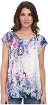 DKNY Sunset Florals Print Crossover Back Top