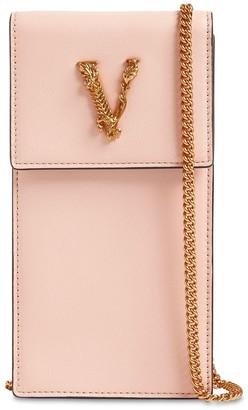 Versace Virtus Leather Phone Holder W/ Chain