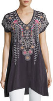 Johnny Was Karineh V-Neck Embroidered Tunic, Petite