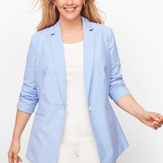 Talbots Gingham Single Button Blazer