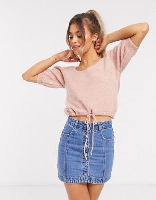 ASOS DESIGN co-ord knitted crop top with tie waist in dusky pink