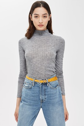 Topshop Womens Grey Long Sleeve Funnel Neck Top - Grey