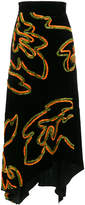Peter Pilotto floral asymmetric velvet skirt