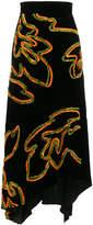 Peter Pilotto floral asymmetric velvet skirt