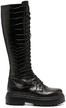 Le Silla Crocodile Embossed High Boots