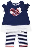 Little Lass Navy & Ivory Cutout Top & Stripe Capri Pants - Infant & Toddler