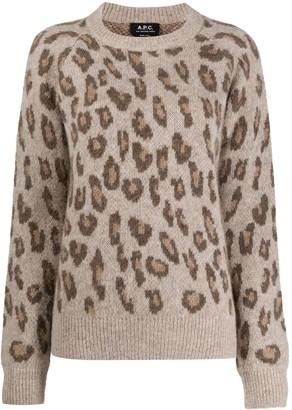 A.P.C. Leopard Print Knitted Jumper