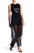 Soprano Sleeveless Faux Leather & Chiffon Maxi Dress (Juniors)