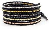 Chan Luu Multi Nugget Sectioned 5-Wrap Black Leather Bracelet