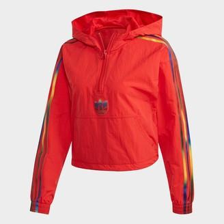 adidas Women's Adicolor 3D Trefoil Half-Zip Crop Track Windbreaker Jacket