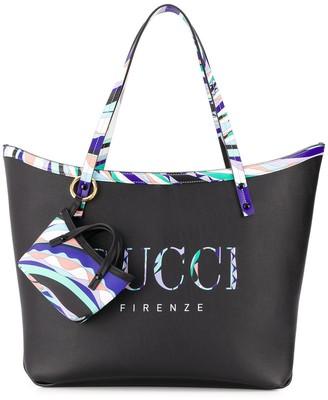 Emilio Pucci Burle Print Leather Twist Tote Bag