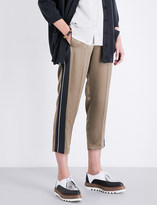 Brunello Cucinelli High-rise tapered satin-crepe trousers