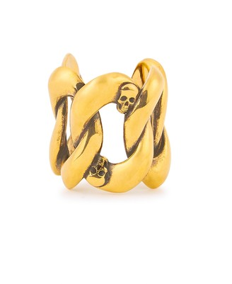 Alexander McQueen Skull-embellished Gold-tone Chain Ring