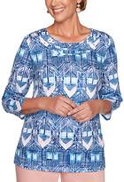 Alfred Dunner Women's Tee Shirts BLUE - Blue Diamond Ikat Three-Quarter Sleeve Top - Women, Petite & Plus
