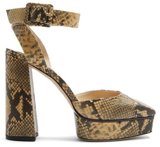Jimmy Choo Jinn 125 Python-effect Leather Platform Sandals - Beige Multi