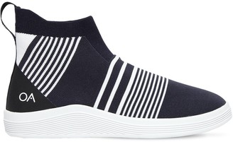 Striped Knit Slip-On High Top Sneakers