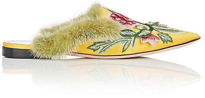 Alberta Ferretti Women's Floral-Embroidered Satin Mules