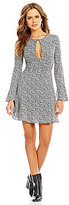 Gianni Bini Pia Keyhole-Front Long Bell Sleeve Floral Swing Dress