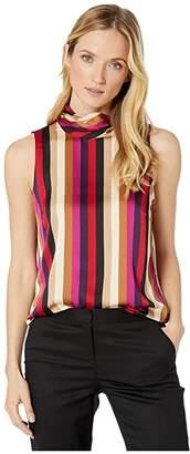 Vince Camuto Sleeveless Mayfair Stripe Mock Neck Blouse (Tulip Red) Women's Blouse