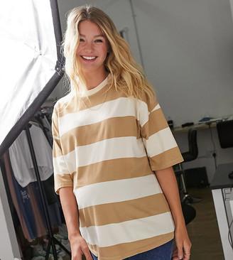ASOS DESIGN Maternity oversized T-shirt in wide washed beige stripe