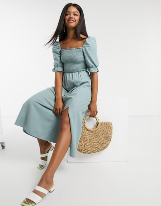 New Look shirred square neck midi dress in green