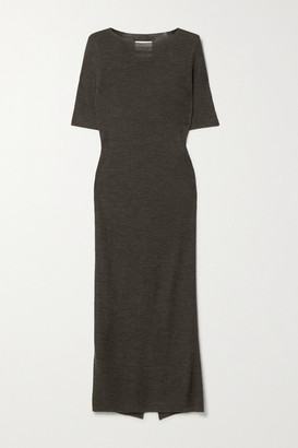 LAUREN MANOOGIAN Alpaca, Merino Wool And Mulberry Silk-blend Midi Dress - Dark brown