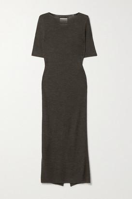 LAUREN MANOOGIAN Net Sustain Alpaca, Merino Wool And Mulberry Silk-blend Midi Dress - Dark brown